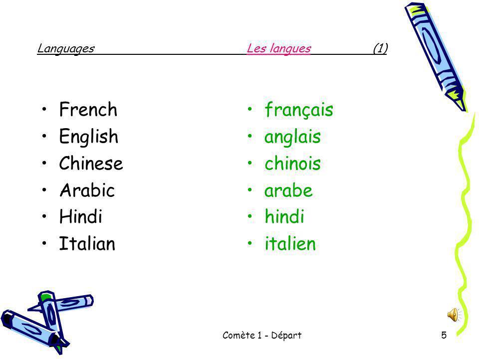 Comète 1 - Départ5 Languages Les langues (1) French English Chinese Arabic Hindi Italian français anglais chinois arabe hindi italien