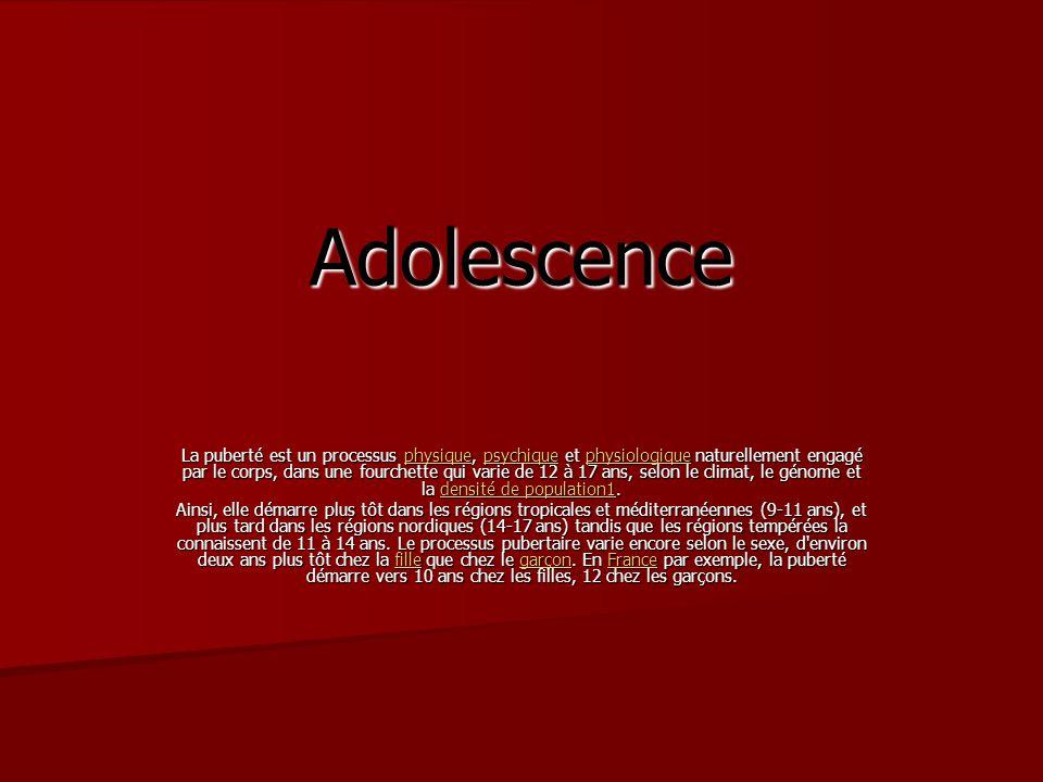 Adolescence La puberté est un processus physique, psychique et physiologique naturellement engagé par le corps, dans une fourchette qui varie de 12 à