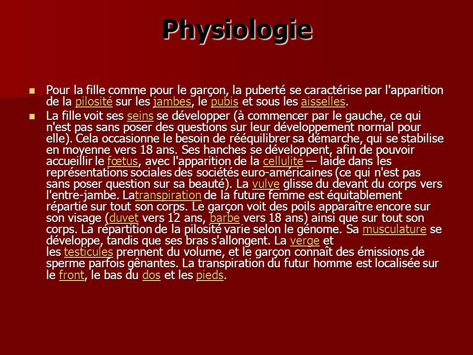 Physiologie Pour la fille comme pour le garçon, la puberté se caractérise par l'apparition de la pilosité sur les jambes, le pubis et sous les aissell