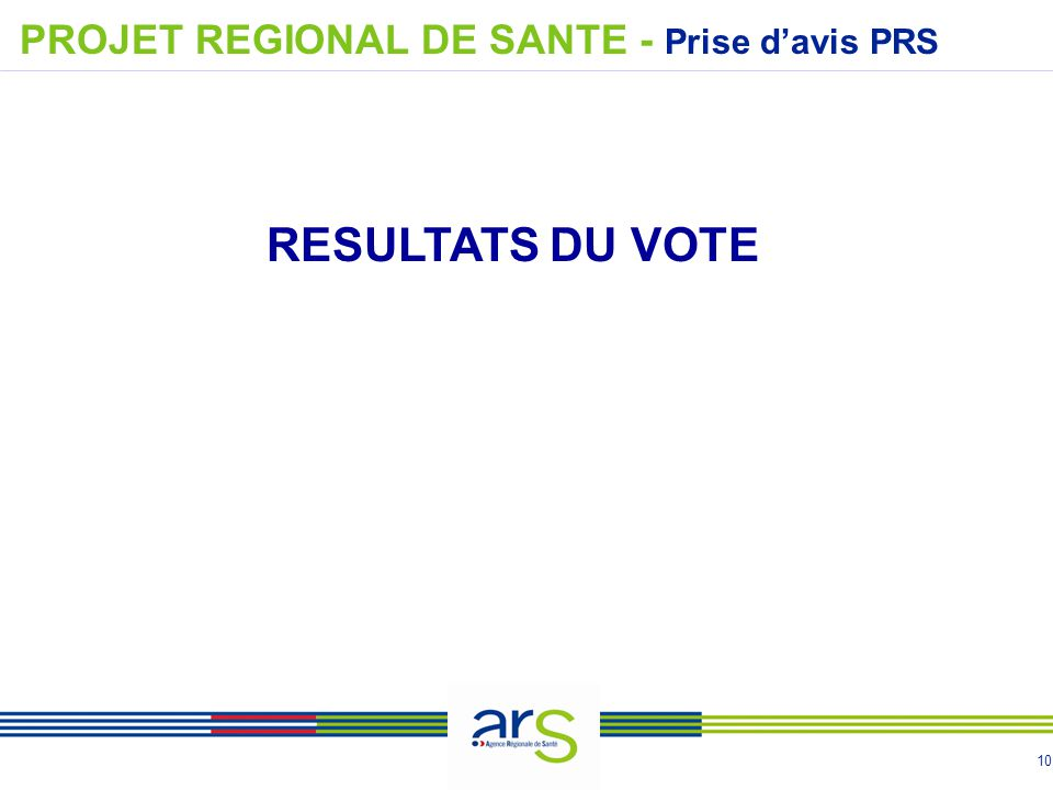 10 PROJET REGIONAL DE SANTE - Prise d'avis PRS RESULTATS DU VOTE