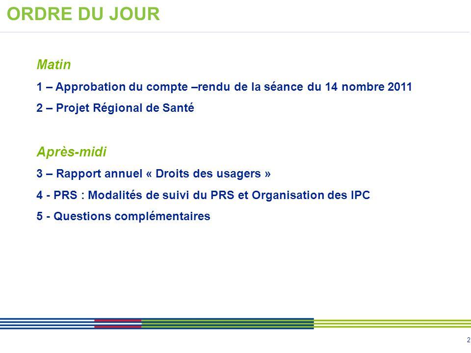2 ORDRE DU JOUR Matin 1 – Approbation du compte –rendu de la séance du 14 nombre 2011 2 – Projet Régional de Santé Après-midi 3 – Rapport annuel « Dro