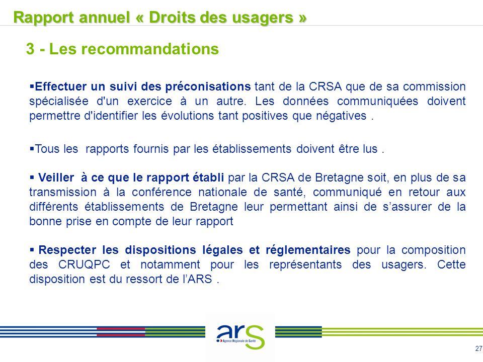27  Effectuer un suivi des préconisations tant de la CRSA que de sa commission spécialisée d'un exercice à un autre. Les données communiquées doivent