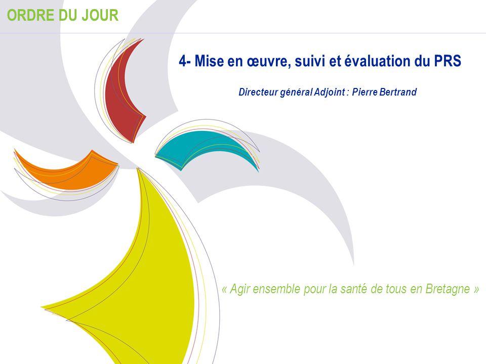 33 ORDRE DU JOUR 4- Mise en œuvre, suivi et évaluation du PRS Directeur général Adjoint : Pierre Bertrand « Agir ensemble pour la santé de tous en Bre