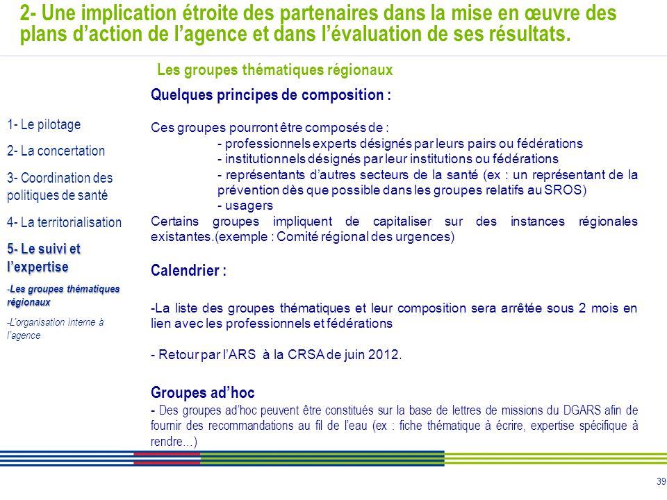 39 2- Une implication étroite des partenaires dans la mise en œuvre des plans d'action de l'agence et dans l'évaluation de ses résultats. Quelques pri