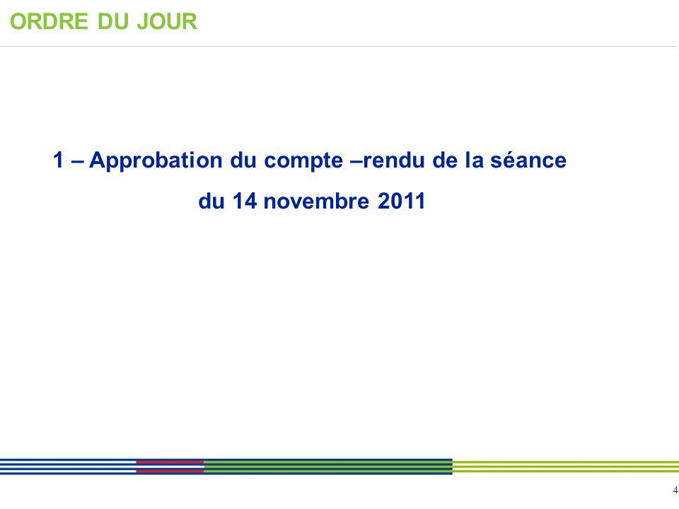 4 1 – Approbation du compte –rendu de la séance du 14 novembre 2011 ORDRE DU JOUR