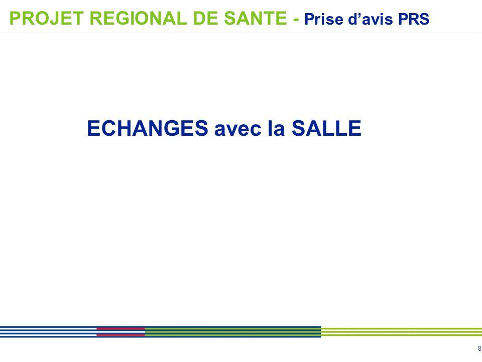 8 ECHANGES avec la SALLE PROJET REGIONAL DE SANTE - Prise d'avis PRS
