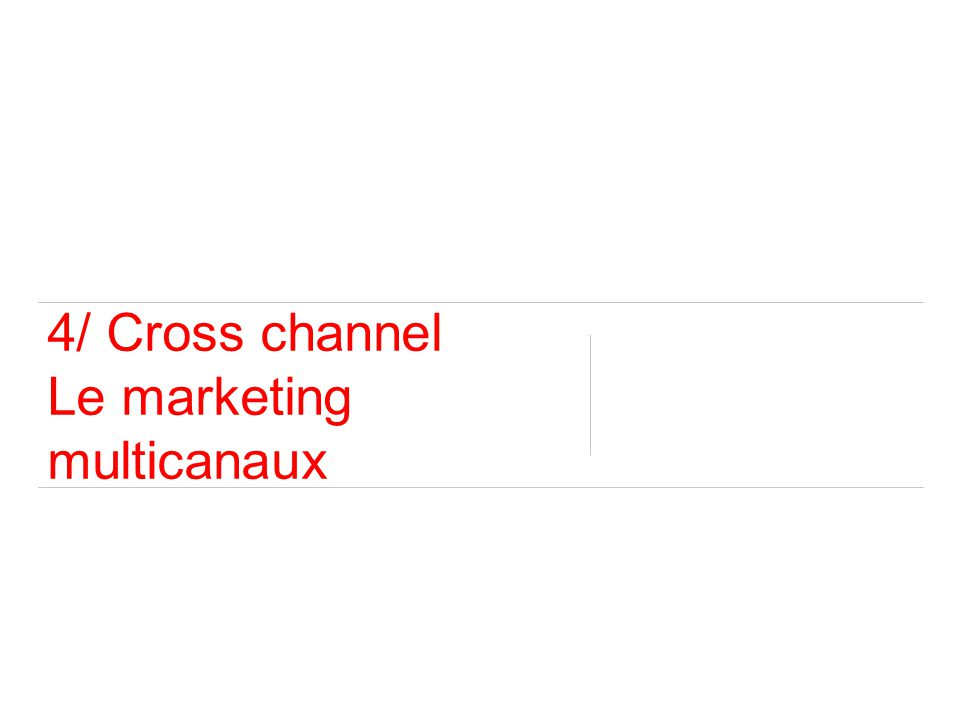 4/ Cross channel Le marketing multicanaux