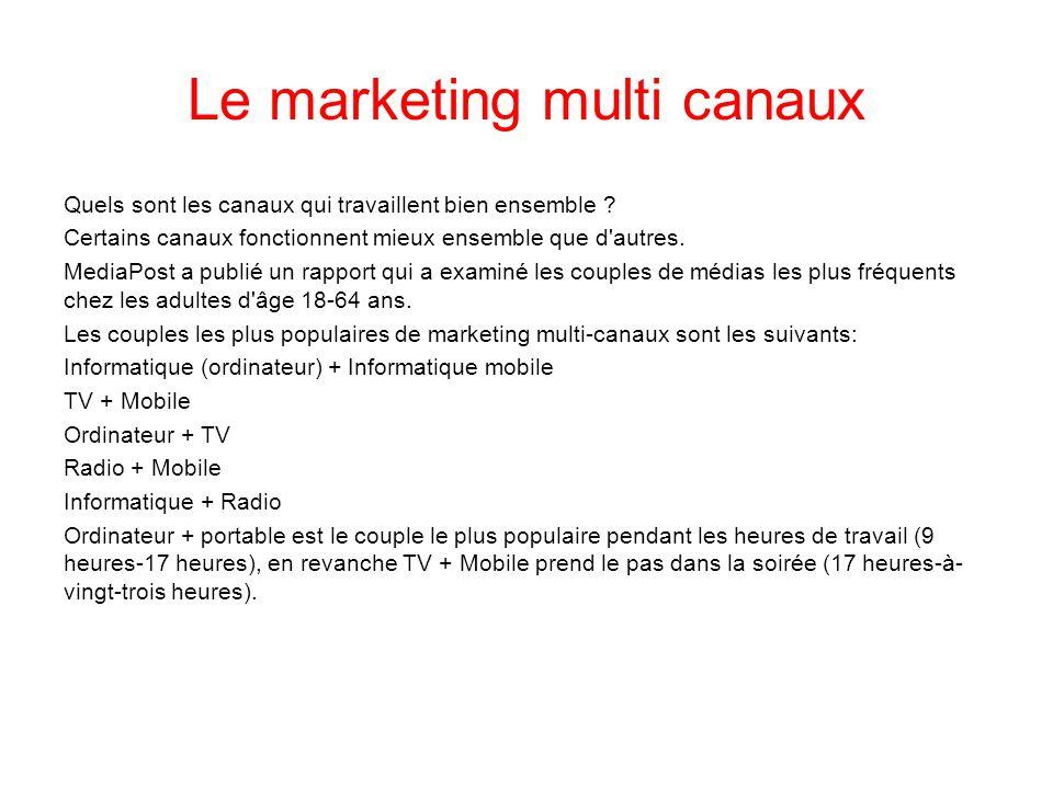 Le marketing multi canaux Quels sont les canaux qui travaillent bien ensemble ? Certains canaux fonctionnent mieux ensemble que d'autres. MediaPost a