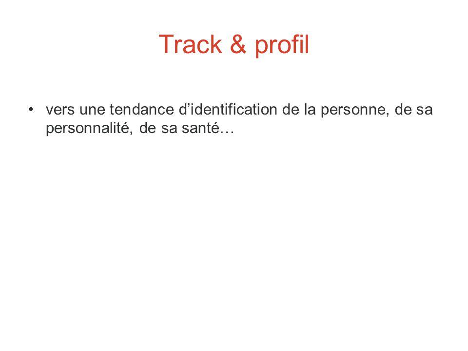 Track & profil vers une tendance d'identification de la personne, de sa personnalité, de sa santé…
