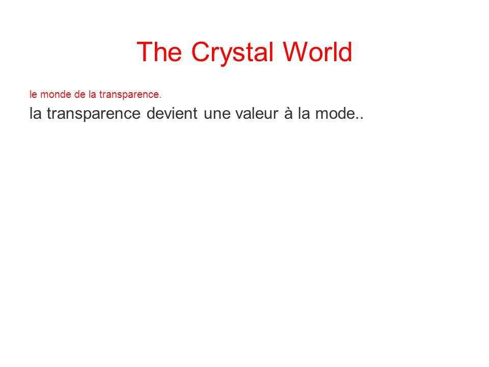 le monde de la transparence. la transparence devient une valeur à la mode.. The Crystal World