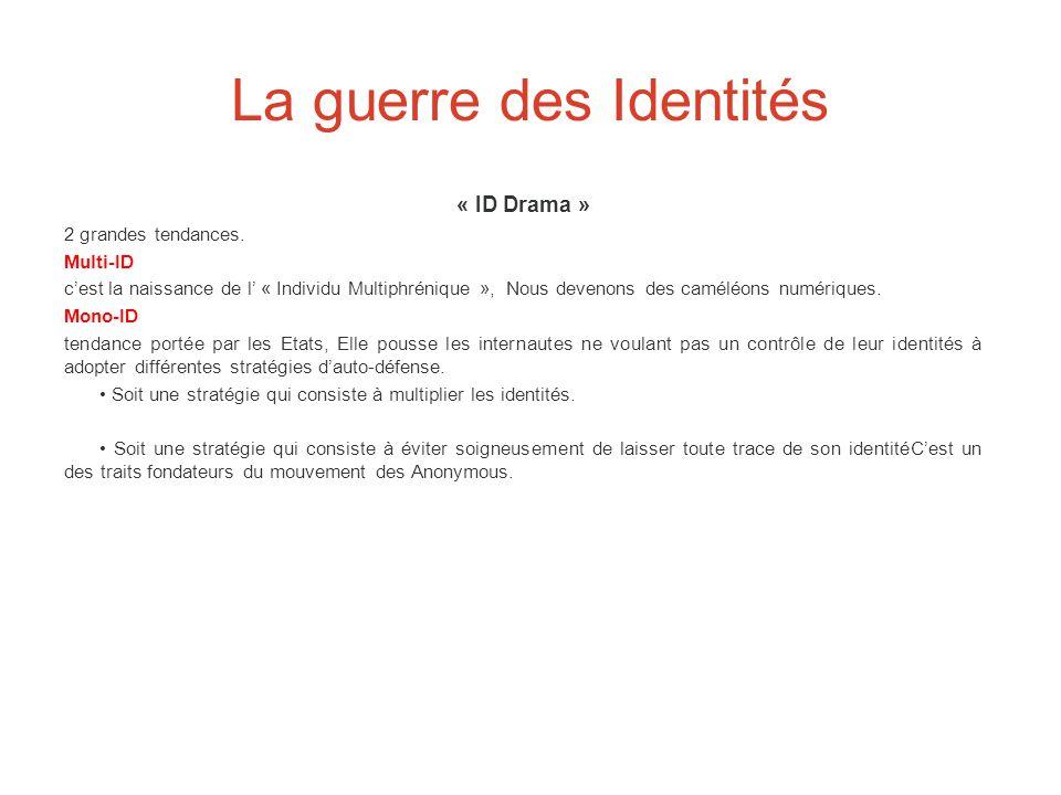 La guerre des Identités « ID Drama » 2 grandes tendances. Multi-ID c'est la naissance de l' « Individu Multiphrénique », Nous devenons des caméléons n