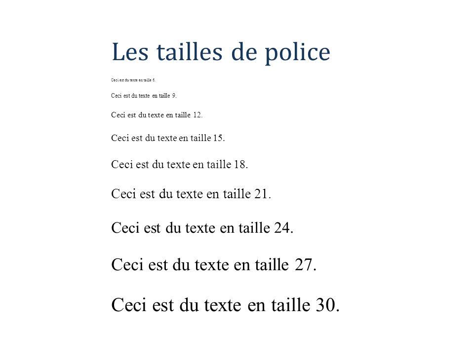 Les tailles de police Ceci est du texte en taille 6. Ceci est du texte en taille 9. Ceci est du texte en taille 12. Ceci est du texte en taille 15. Ce
