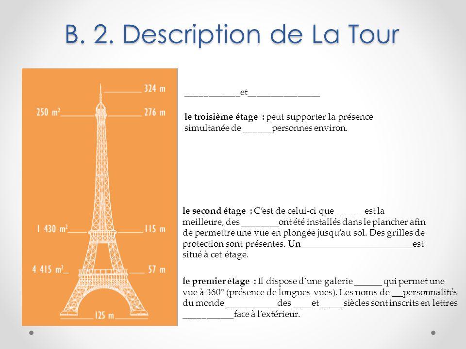 B. 2. Description de La Tour le premier étage : Il dispose d'une galerie ______ qui permet une vue à 360° (présence de longues-vues). Les noms de __ p