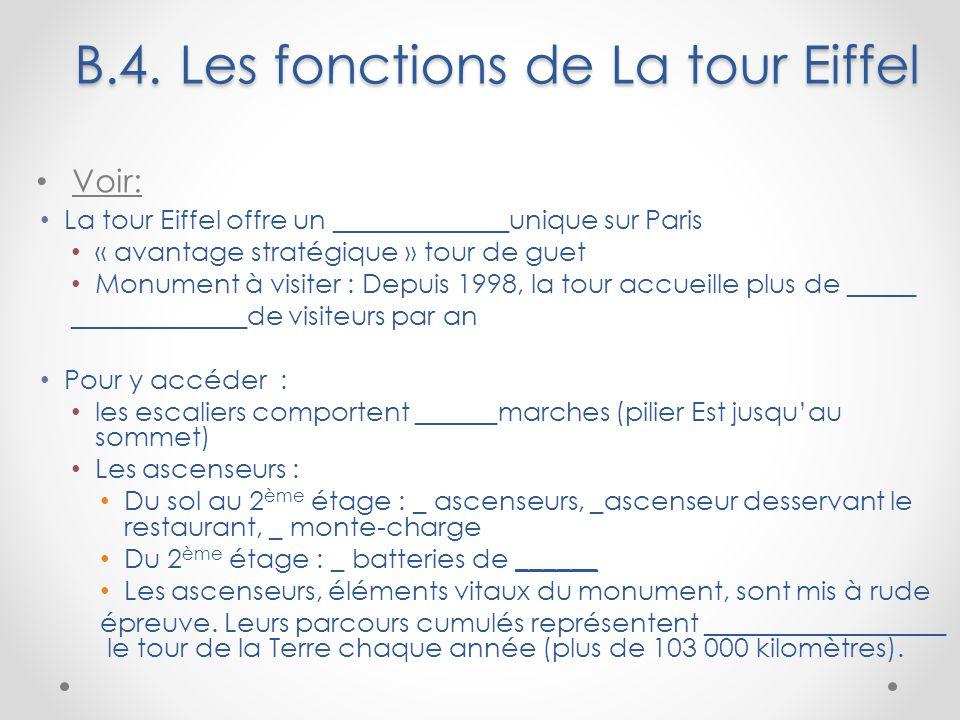 B.4. Les fonctions de La tour Eiffel Voir: La tour Eiffel offre un _____________unique sur Paris « avantage stratégique » tour de guet Monument à visi
