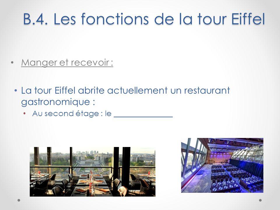 B.4. Les fonctions de la tour Eiffel Manger et recevoir : La tour Eiffel abrite actuellement un restaurant gastronomique : Au second étage : le ______