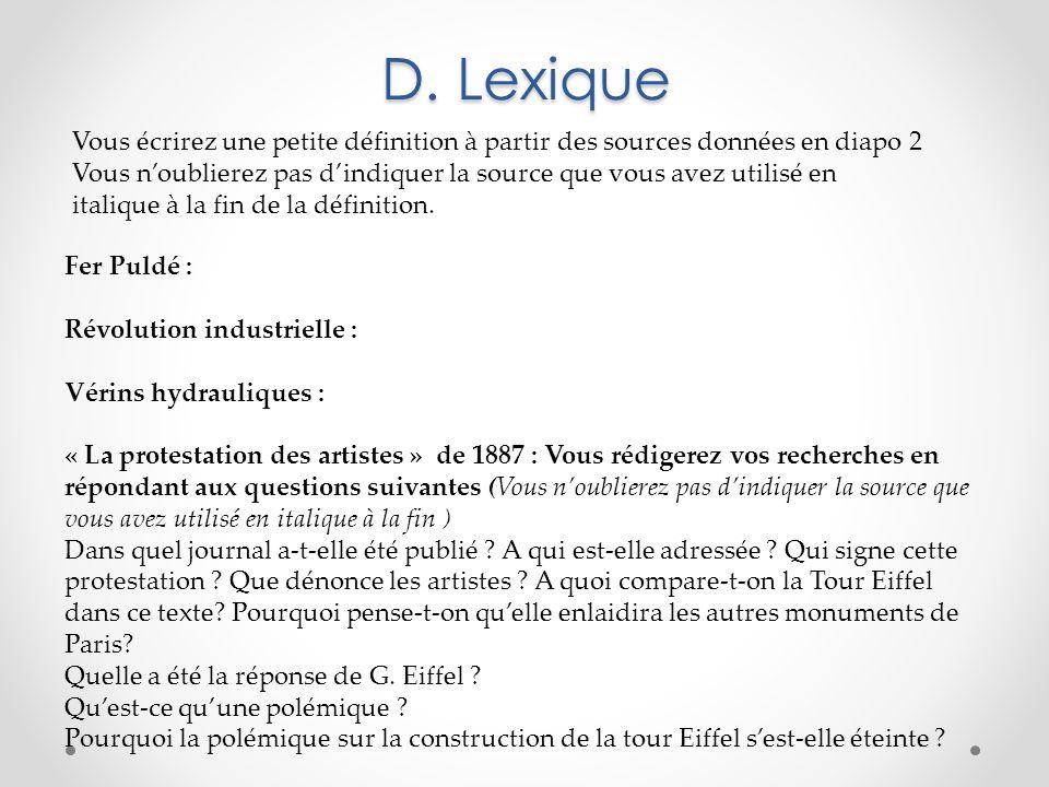 D. Lexique Fer Puldé : Révolution industrielle : Vérins hydrauliques : « La protestation des artistes » de 1887 : Vous rédigerez vos recherches en rép