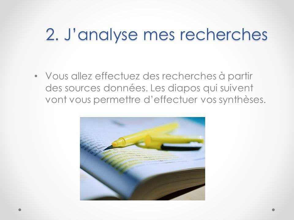 2. J'analyse mes recherches Vous allez effectuez des recherches à partir des sources données. Les diapos qui suivent vont vous permettre d'effectuer v