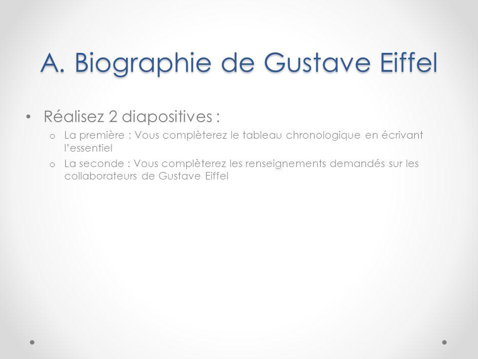 A. Biographie de Gustave Eiffel Réalisez 2 diapositives : o La première : Vous complèterez le tableau chronologique en écrivant l'essentiel o La secon