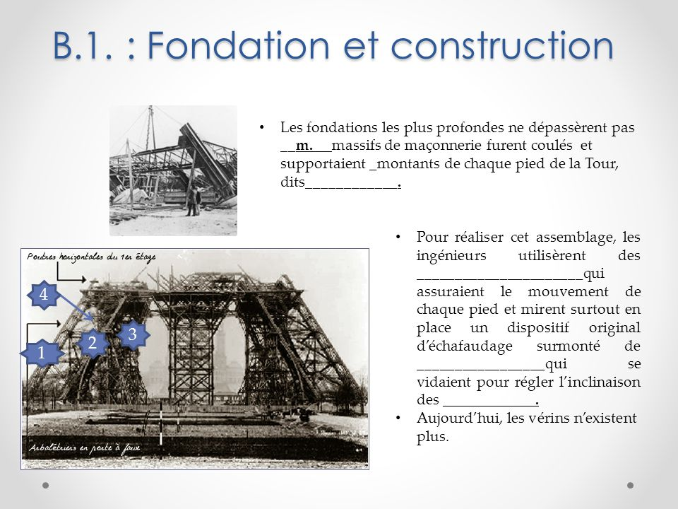 B.1. : Fondation et construction Les fondations les plus profondes ne dépassèrent pas __m. __massifs de maçonnerie furent coulés et supportaient _mont