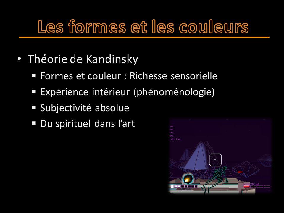 Théorie de Kandinsky  Formes et couleur : Richesse sensorielle  Expérience intérieur (phénoménologie)  Subjectivité absolue  Du spirituel dans l'art