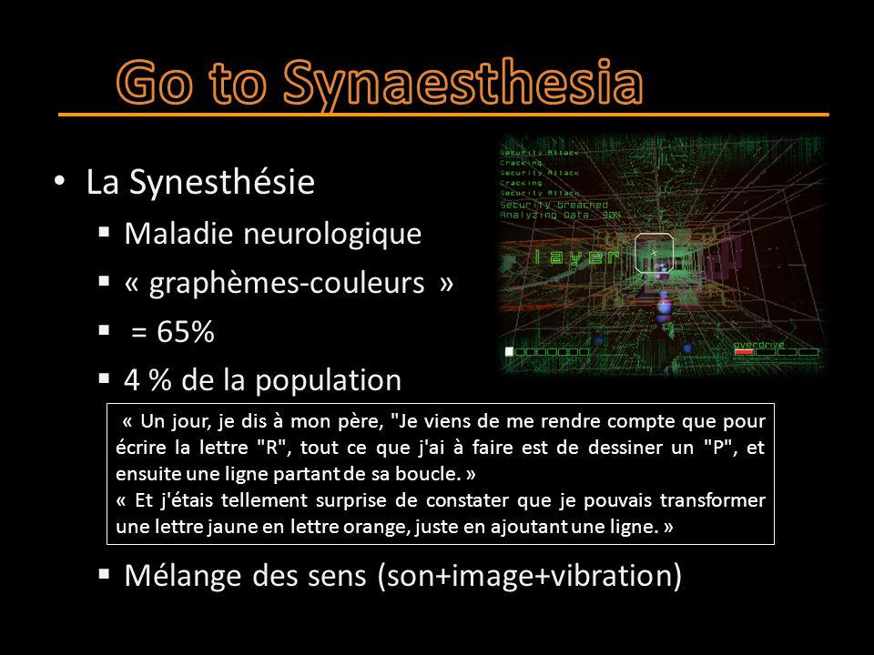 La Synesthésie  Maladie neurologique  « graphèmes-couleurs »  = 65%  4 % de la population  Mélange des sens (son+image+vibration) « Un jour, je dis à mon père, Je viens de me rendre compte que pour écrire la lettre R , tout ce que j ai à faire est de dessiner un P , et ensuite une ligne partant de sa boucle.
