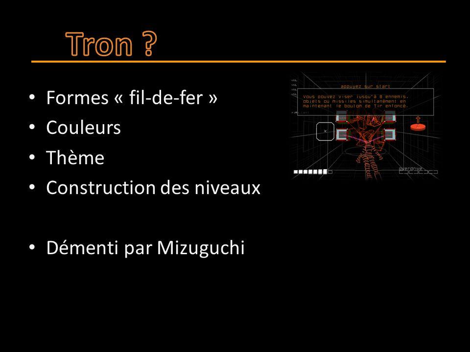 Formes « fil-de-fer » Couleurs Thème Construction des niveaux Démenti par Mizuguchi
