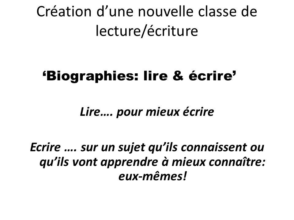 Création d'une nouvelle classe de lecture/écriture 'Biographies: lire & écrire' Lire…. pour mieux écrire Ecrire …. sur un sujet qu'ils connaissent ou