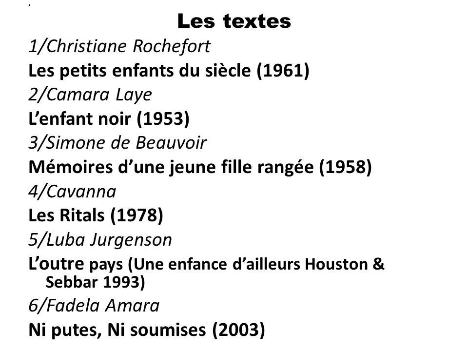 Les textes 1/Christiane Rochefort Les petits enfants du siècle (1961) 2/Camara Laye L'enfant noir (1953) 3/Simone de Beauvoir Mémoires d'une jeune fil