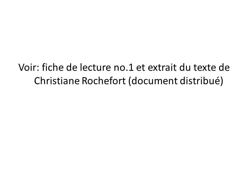Voir: fiche de lecture no.1 et extrait du texte de Christiane Rochefort (document distribué)