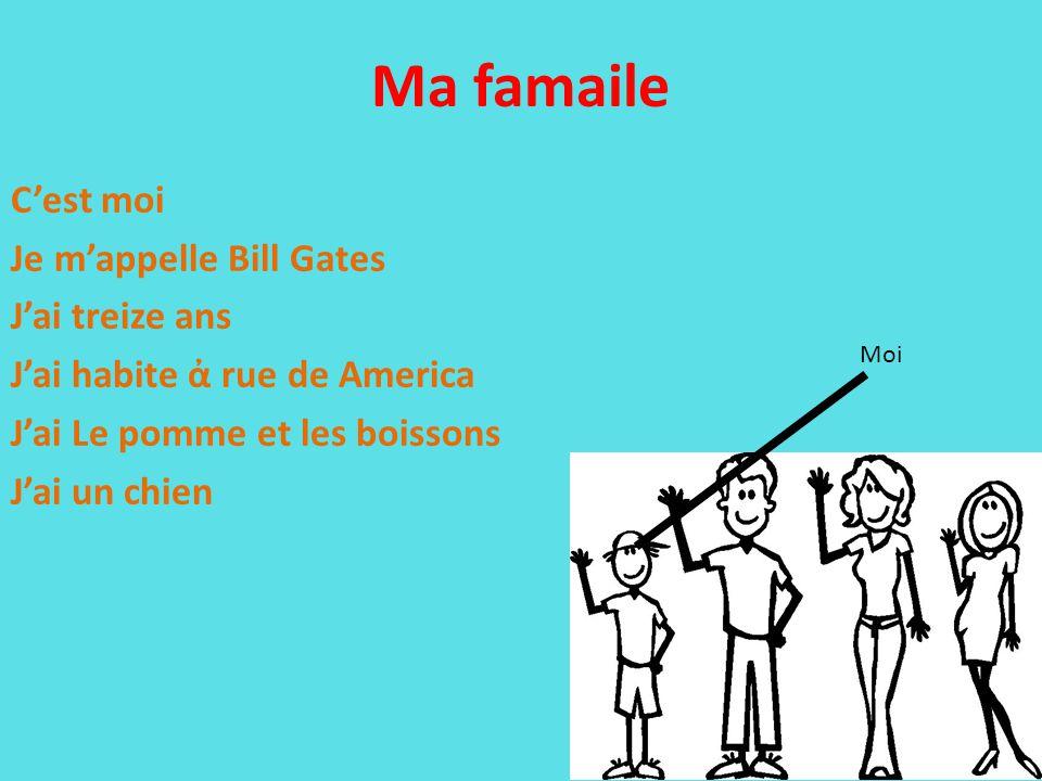 Ma famaile C'est moi Je m'appelle Bill Gates J'ai treize ans J'ai habite ἀ rue de America J'ai Le pomme et les boissons J'ai un chien Moi
