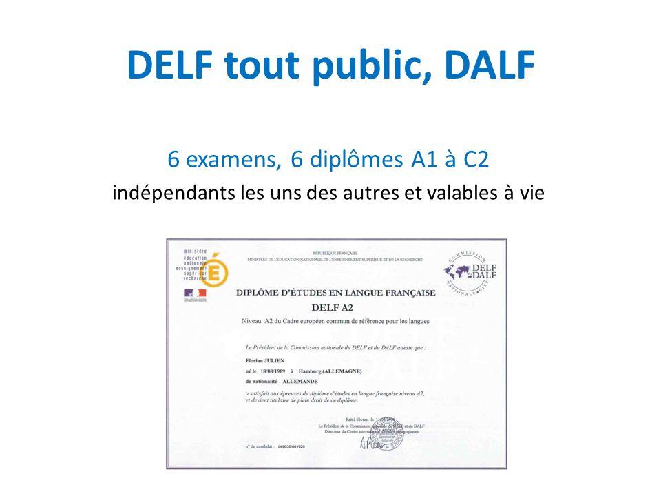 DELF tout public, DALF 6 examens, 6 diplômes A1 à C2 indépendants les uns des autres et valables à vie