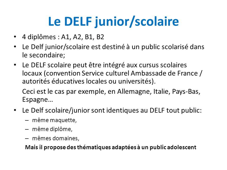 Le DELF junior/scolaire 4 diplômes : A1, A2, B1, B2 Le Delf junior/scolaire est destiné à un public scolarisé dans le secondaire; Le DELF scolaire peu