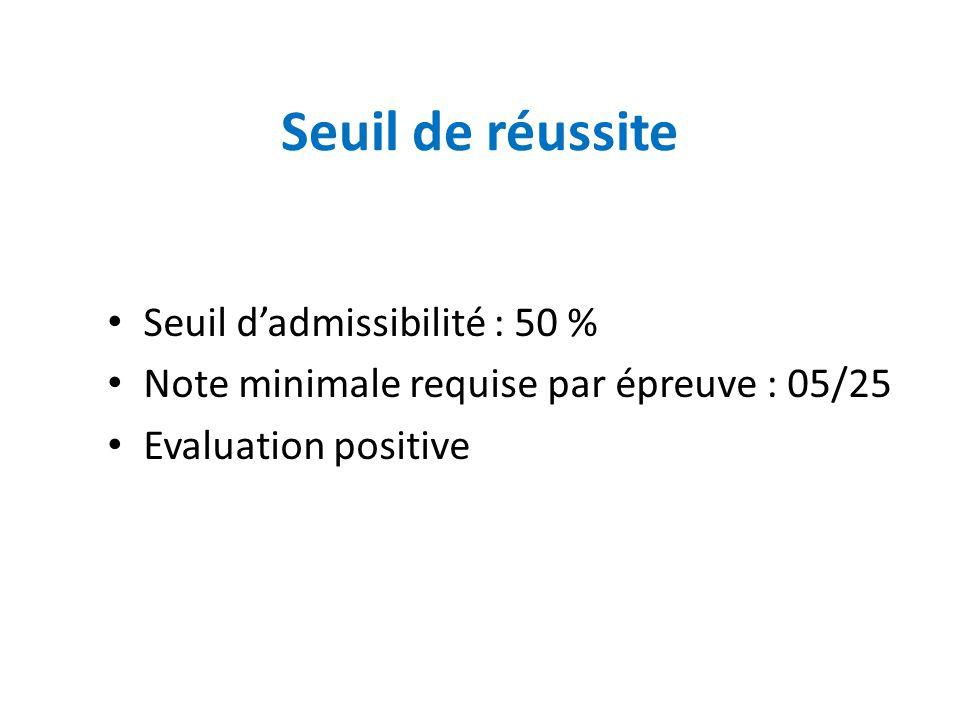 Seuil de réussite Seuil d'admissibilité : 50 % Note minimale requise par épreuve : 05/25 Evaluation positive