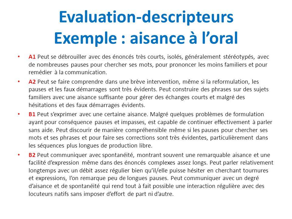 Evaluation-descripteurs Exemple : aisance à l'oral A1 Peut se débrouiller avec des énoncés très courts, isolés, généralement stéréotypés, avec de nomb