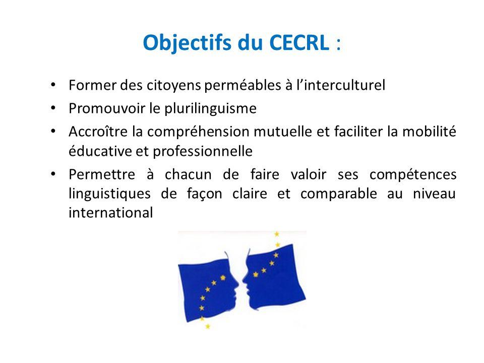 Objectifs du CECRL : Former des citoyens perméables à l'interculturel Promouvoir le plurilinguisme Accroître la compréhension mutuelle et faciliter la