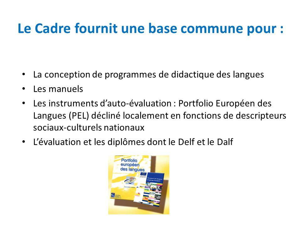 Le Cadre fournit une base commune pour : La conception de programmes de didactique des langues Les manuels Les instruments d'auto-évaluation : Portfol