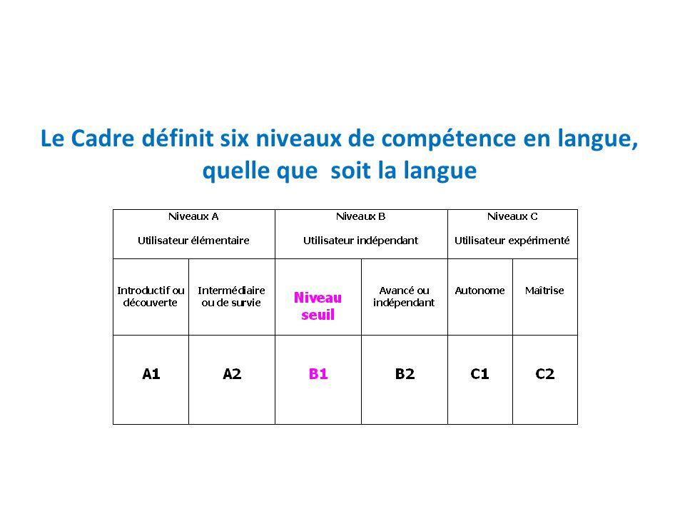 Le Cadre définit six niveaux de compétence en langue, quelle que soit la langue
