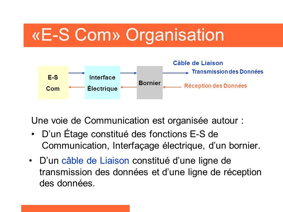 «E-S Com» Organisation E-S Com Interface Électrique Bornier Transmission des Données Réception des Données Une voie de Communication est organisée autour : D'un Étage constitué des fonctions E-S de Communication, Interfaçage électrique, d'un bornier.