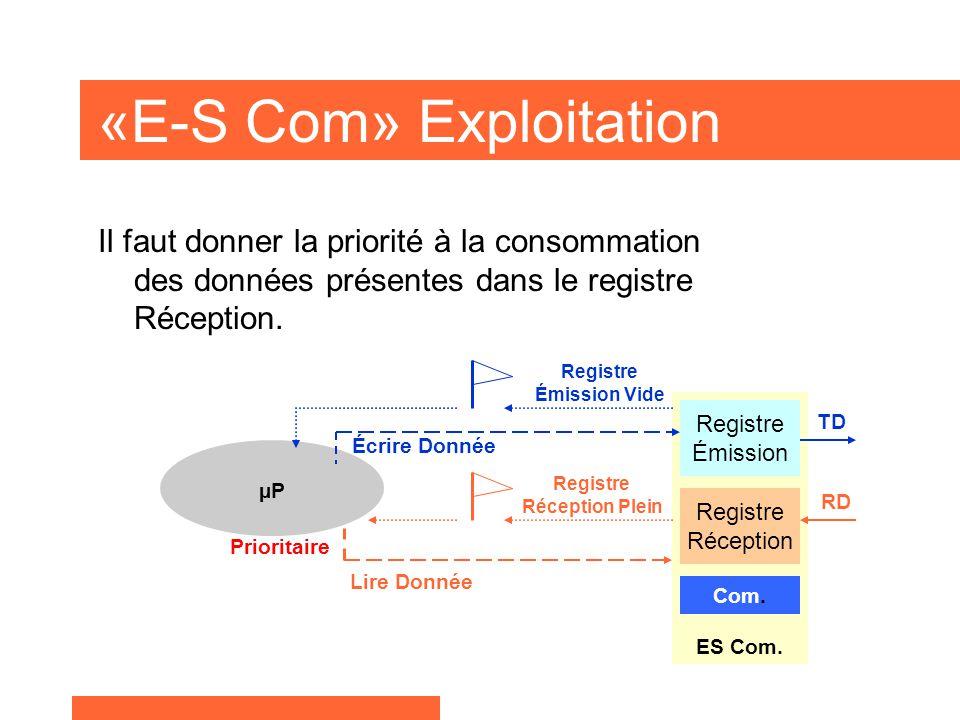 «E-S Com» Exploitation Il faut donner la priorité à la consommation des données présentes dans le registre Réception.