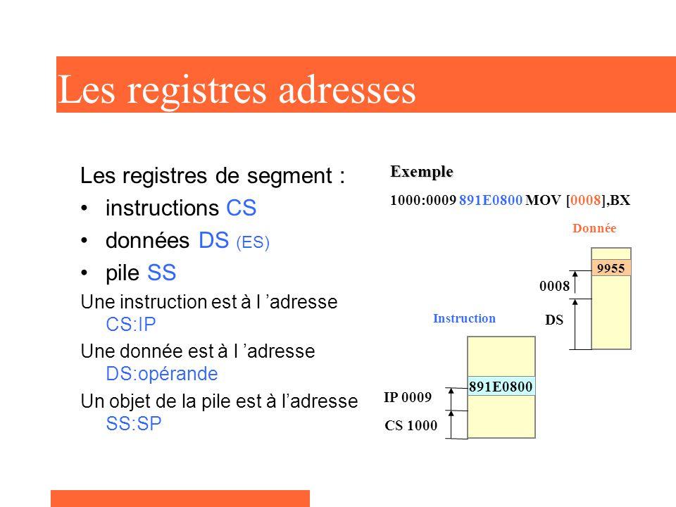 Les registres adresses Les registres de segment : instructions CS données DS (ES) pile SS Une instruction est à l 'adresse CS:IP Une donnée est à l 'adresse DS:opérande Un objet de la pile est à l'adresse SS:SP Exemple 1000:0009 891E0800 MOV [0008],BX 891E0800 CS 1000 IP 0009 Instruction 9955 DS 0008 Donnée