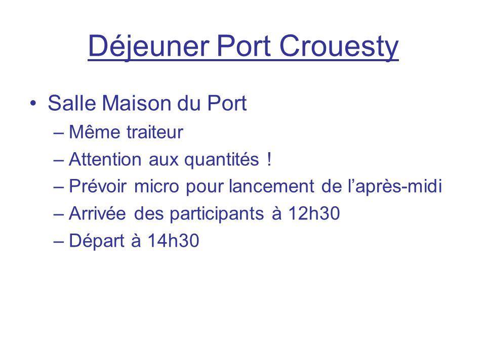 Déjeuner Port Crouesty Salle Maison du Port –Même traiteur –Attention aux quantités ! –Prévoir micro pour lancement de l'après-midi –Arrivée des parti