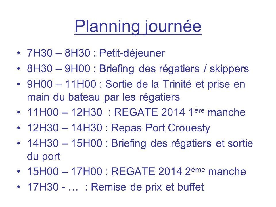 Planning journée 7H30 – 8H30 : Petit-déjeuner 8H30 – 9H00 : Briefing des régatiers / skippers 9H00 – 11H00 : Sortie de la Trinité et prise en main du