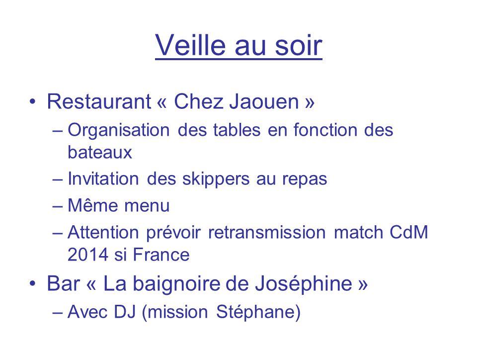 Veille au soir Restaurant « Chez Jaouen » –Organisation des tables en fonction des bateaux –Invitation des skippers au repas –Même menu –Attention pré