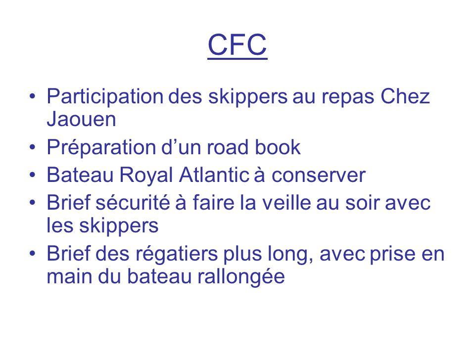 CFC Participation des skippers au repas Chez Jaouen Préparation d'un road book Bateau Royal Atlantic à conserver Brief sécurité à faire la veille au s