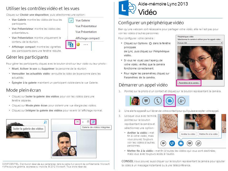 Aide-mémoire pour la vidéo Démarrer un appel vidéo 1.Pointez sur la photo d'un contact et cliquez sur le bouton représentant la caméra. 2.Une alerte a