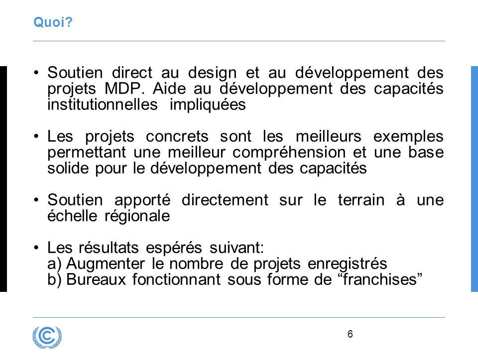 6 Quoi? Soutien direct au design et au développement des projets MDP. Aide au développement des capacités institutionnelles impliquées Les projets con