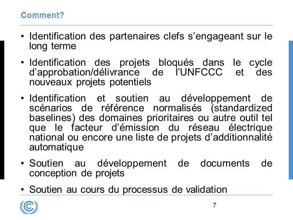 7 Comment? Identification des partenaires clefs s'engageant sur le long terme Identification des projets bloqués dans le cycle d'approbation/délivranc