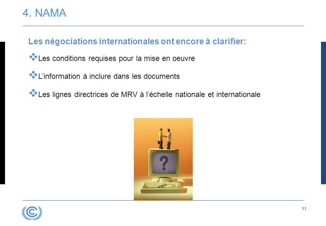 11 Les négociations internationales ont encore à clarifier:  Les conditions requises pour la mise en oeuvre  L'information à inclure dans les docume