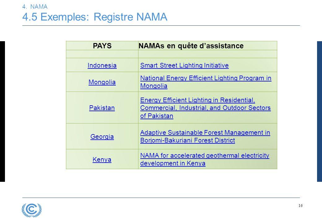 16 4. NAMA 4.5 Exemples: Registre NAMA PAYSNAMAs en quête d'assistance IndonesiaSmart Street Lighting Initiative Mongolia National Energy Efficient Li
