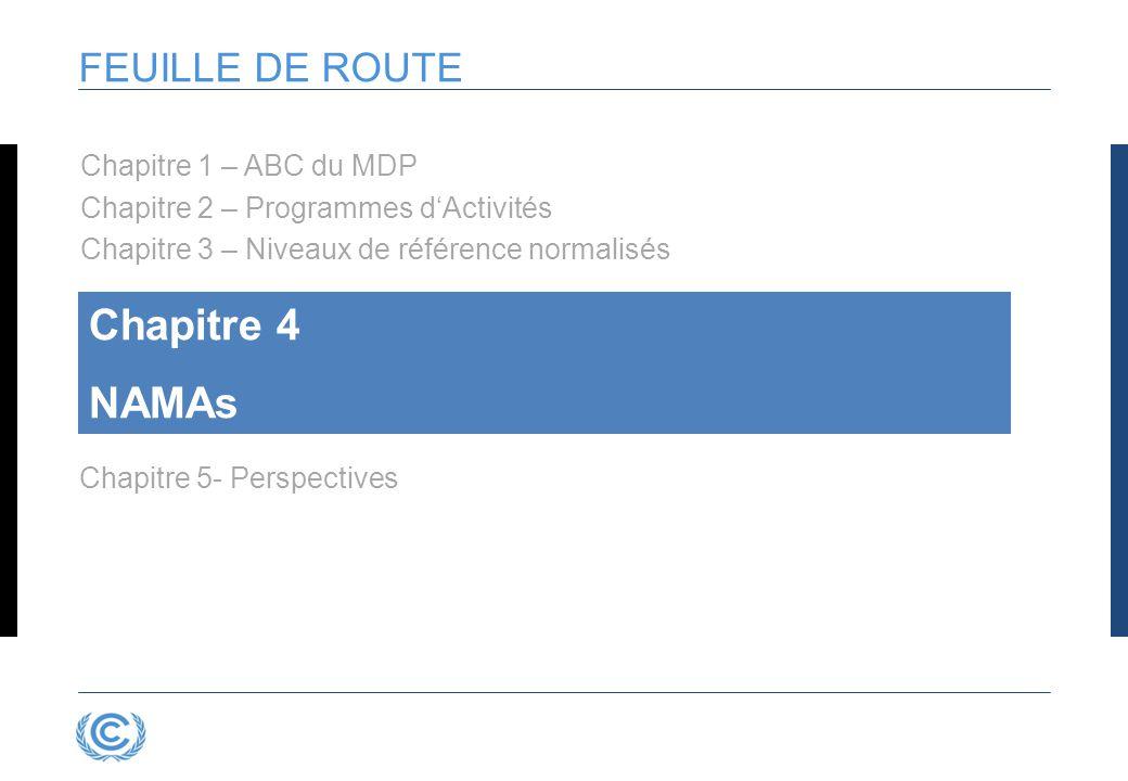 FEUILLE DE ROUTE Chapitre 4 NAMAs Chapitre 5- Perspectives Chapitre 1 – ABC du MDP Chapitre 2 – Programmes d'Activités Chapitre 3 – Niveaux de référence normalisés